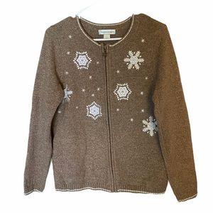 Christopher & Banks Tan Zip-up Snowflake Sweater